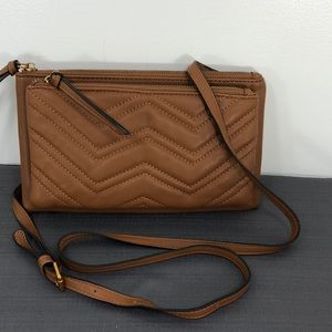 Brown Purse Crossbody Bag Quilted Chevron Design
